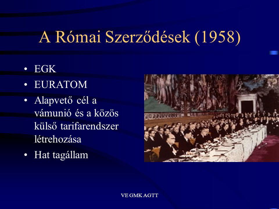 VE GMK AGTT A Római Szerződések (1958) •EGK •EURATOM •Alapvető cél a vámunió és a közös külső tarifarendszer létrehozása •Hat tagállam