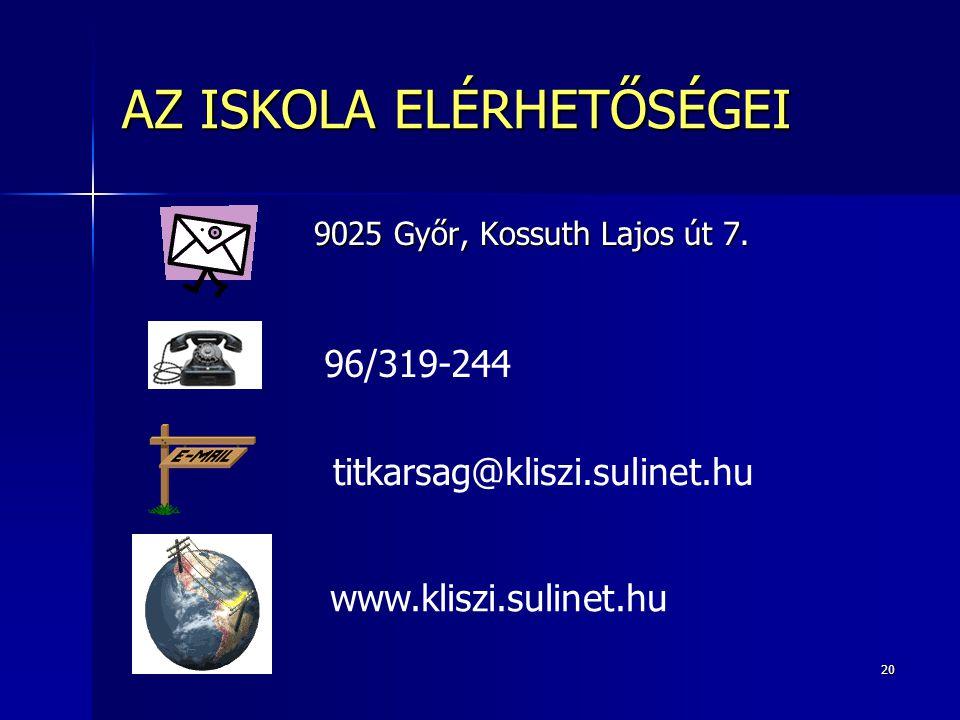 20 AZ ISKOLA ELÉRHETŐSÉGEI 9025 Győr, Kossuth Lajos út 7.