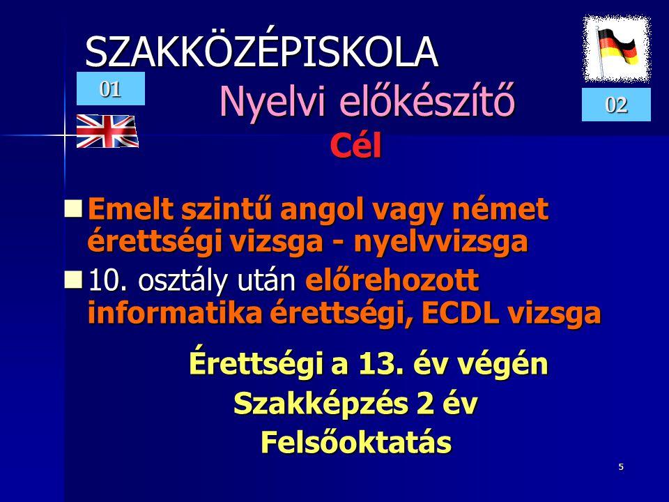5 SZAKKÖZÉPISKOLA Nyelvi előkészítő Cél  Emelt szintű angol vagy német érettségi vizsga - nyelvvizsga  10.