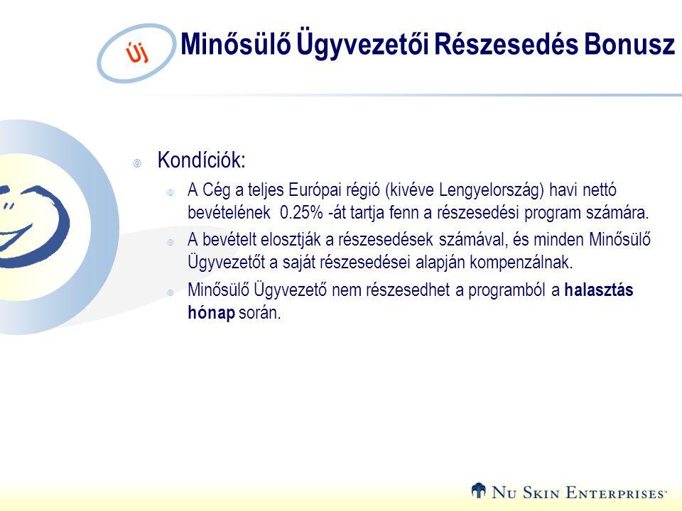 Új Minősülő Ügyvezetői Részesedés Bonusz  Kondíciók:  A Cég a teljes Európai régió (kivéve Lengyelország) havi nettó bevételének 0.25% -át tartja fe