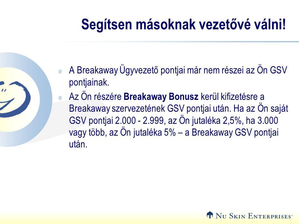 Segítsen másoknak vezetővé válni!  A Breakaway Ügyvezető pontjai már nem részei az Ön GSV pontjainak.  Az Ön részére Breakaway Bonusz kerül kifizeté