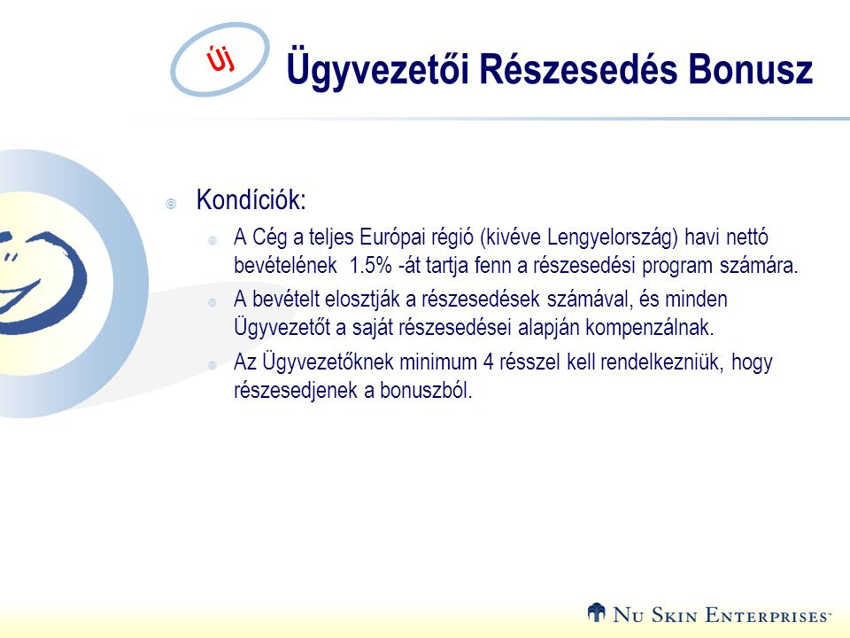 Új Ügyvezetői Részesedés Bonusz  Kondíciók:  A Cég a teljes Európai régió (kivéve Lengyelország) havi nettó bevételének 1.5% -át tartja fenn a részesedési program számára.