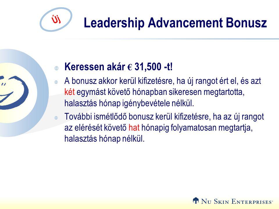 Új Leadership Advancement Bonusz  Keressen akár € 31,500 -t!  A bonusz akkor kerül kifizetésre, ha új rangot ért el, és azt két egymást követő hónap