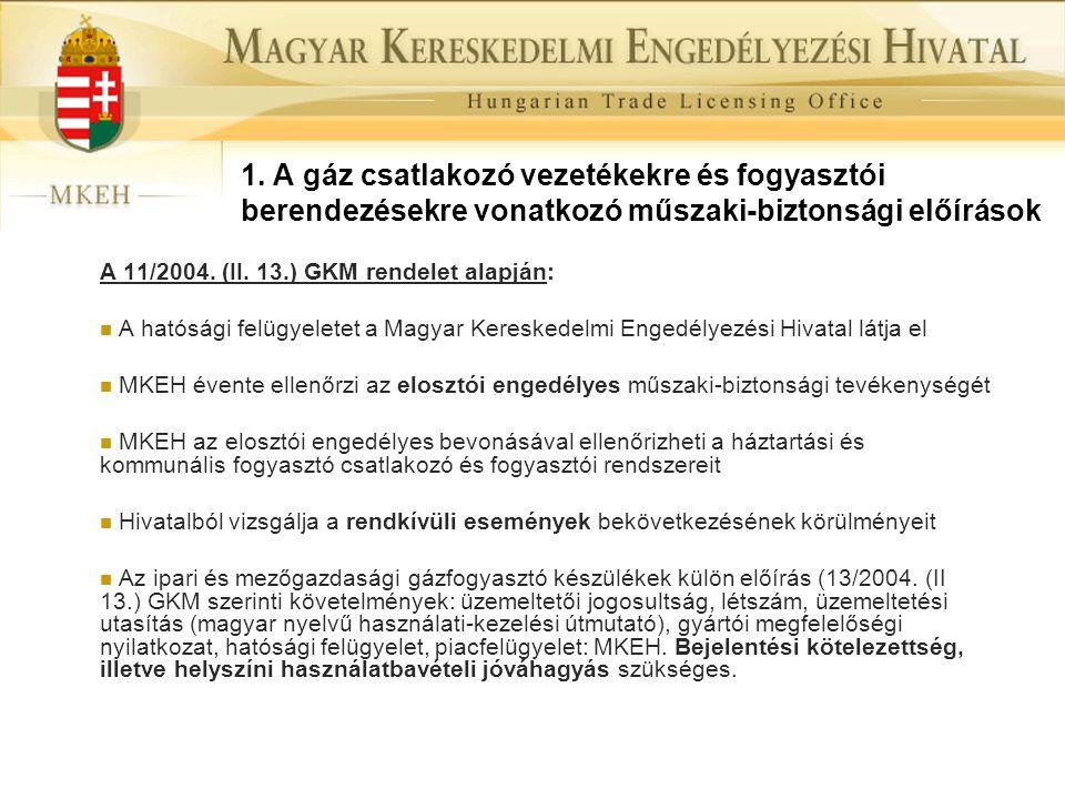 1. A gáz csatlakozó vezetékekre és fogyasztói berendezésekre vonatkozó műszaki-biztonsági előírások A 11/2004. (II. 13.) GKM rendelet alapján:  A hat