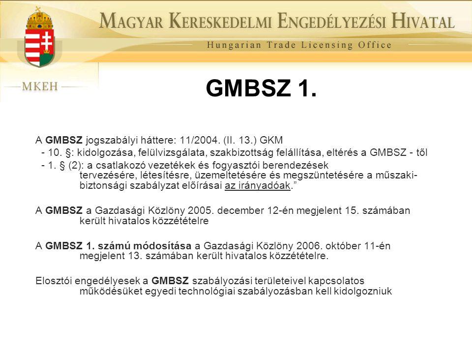 GMBSZ 1. A GMBSZ jogszabályi háttere: 11/2004. (II. 13.) GKM - 10. §: kidolgozása, felülvizsgálata, szakbizottság felállítása, eltérés a GMBSZ - től -