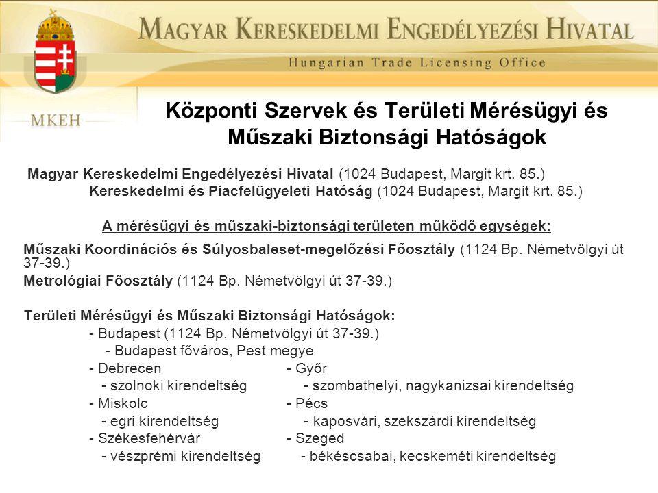 Központi Szervek és Területi Mérésügyi és Műszaki Biztonsági Hatóságok Magyar Kereskedelmi Engedélyezési Hivatal (1024 Budapest, Margit krt. 85.) Kere