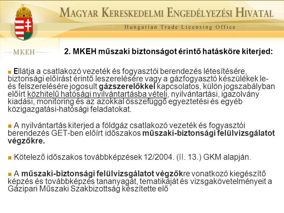 2. MKEH műszaki biztonságot érintő hatásköre kiterjed:  E llátja a csatlakozó vezeték és fogyasztói berendezés létesítésére, biztonsági előírást érin