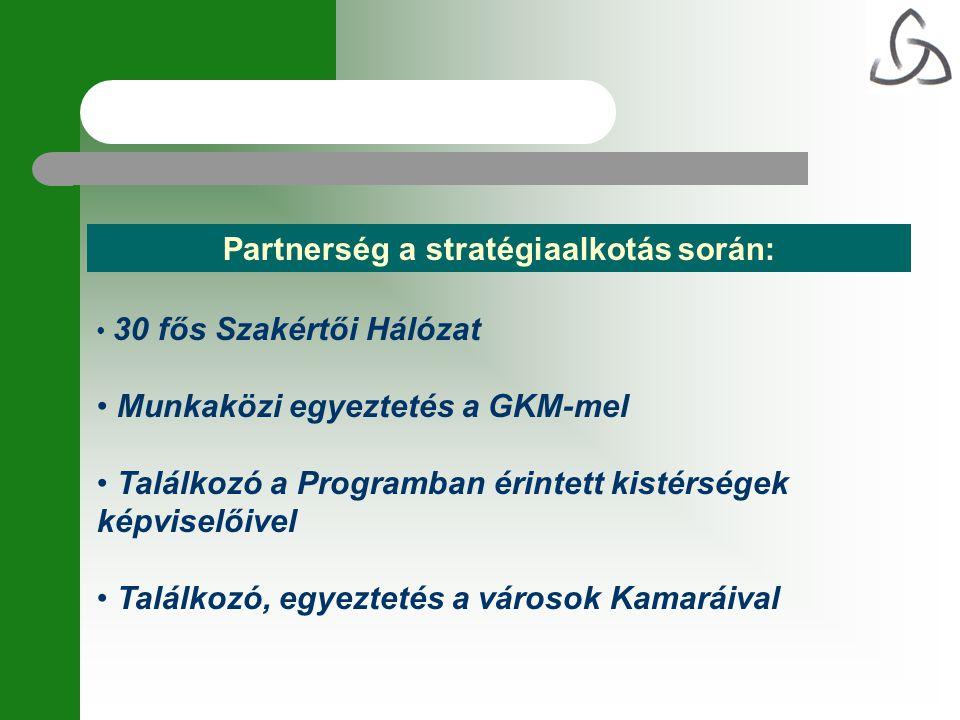 Partnerség a stratégiaalkotás során: • 30 fős Szakértői Hálózat • Munkaközi egyeztetés a GKM-mel • Találkozó a Programban érintett kistérségek képvise