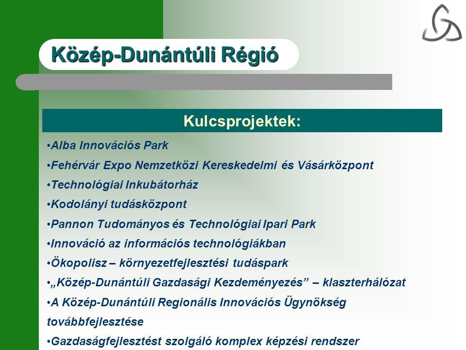 Kulcsprojektek: •Alba Innovációs Park •Fehérvár Expo Nemzetközi Kereskedelmi és Vásárközpont •Technológiai Inkubátorház •Kodolányi tudásközpont •Panno