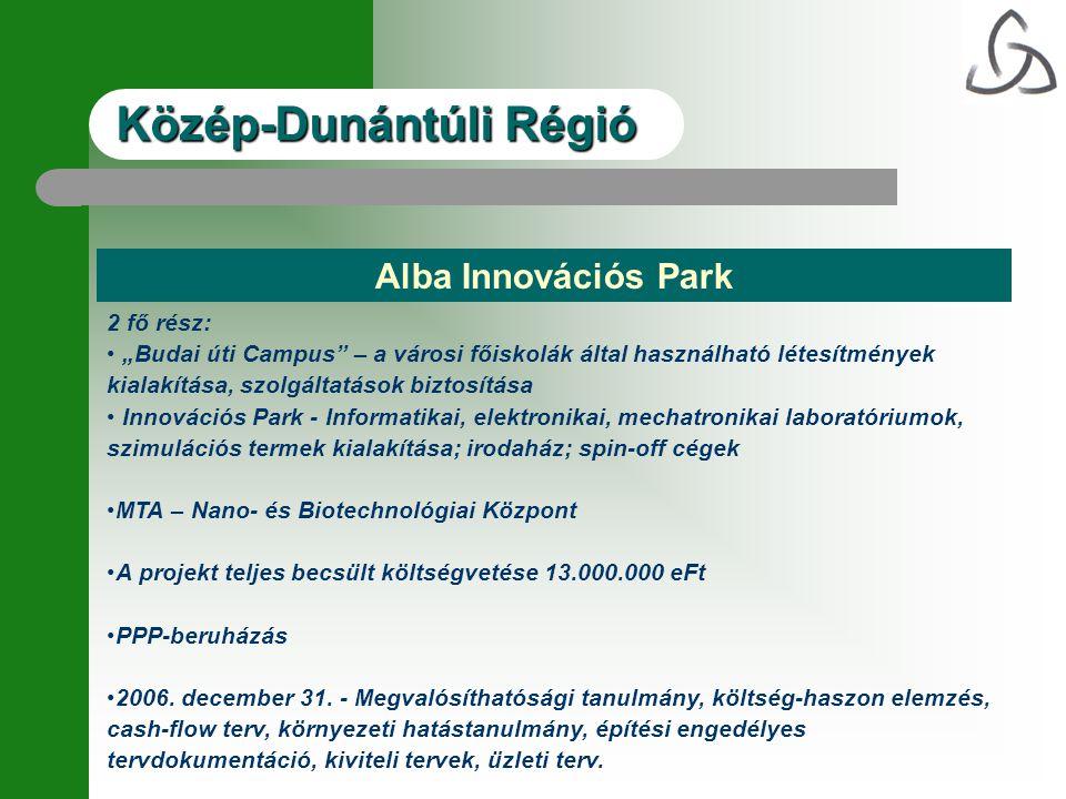 """Alba Innovációs Park 2 fő rész: • """"Budai úti Campus"""" – a városi főiskolák által használható létesítmények kialakítása, szolgáltatások biztosítása • In"""