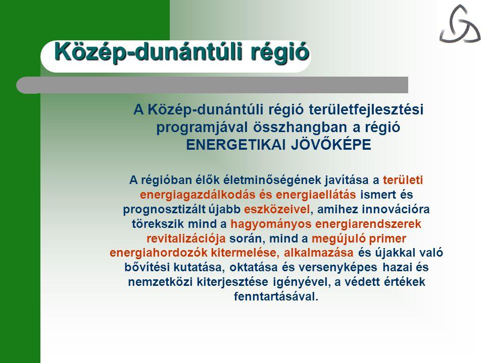 A Közép-dunántúli régió területfejlesztési programjával összhangban a régió ENERGETIKAI JÖVŐKÉPE A régióban élők életminőségének javítása a területi e