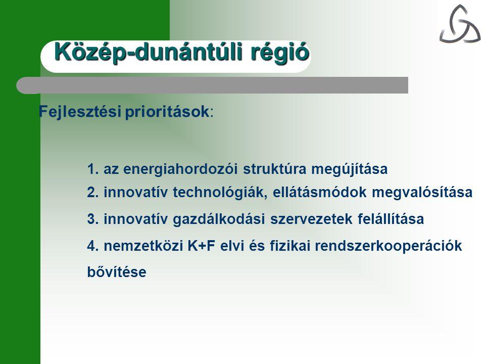 Fejlesztési prioritások: 1. az energiahordozói struktúra megújítása 2. innovatív technológiák, ellátásmódok megvalósítása 3. innovatív gazdálkodási sz