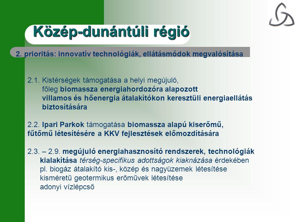 2. prioritás: innovatív technológiák, ellátásmódok megvalósítása 2.1. Kistérségek támogatása a helyi megújuló, főleg biomassza energiahordozóra alapoz