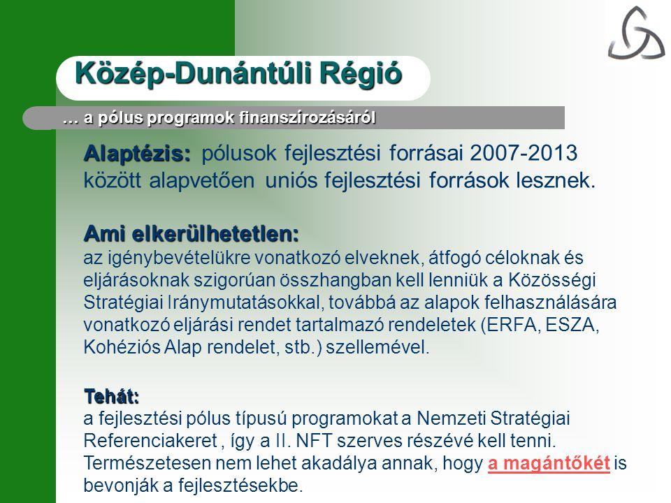 Közép-Dunántúli Régió Alaptézis: Alaptézis: pólusok fejlesztési forrásai 2007-2013 között alapvetően uniós fejlesztési források lesznek. Ami elkerülhe