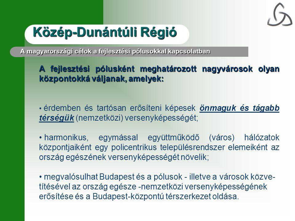 Közép-Dunántúli Régió A fejlesztési pólusként meghatározott nagyvárosok olyan központokká váljanak, amelyek: • érdemben és tartósan erősíteni képesek