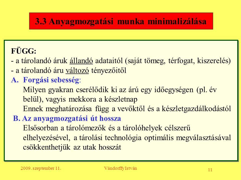11 2009. szeptember 11.Vándorffy István 3.3 Anyagmozgatási munka minimalizálása FÜGG: - a tárolandó áruk állandó adataitól (saját tömeg, térfogat, kis