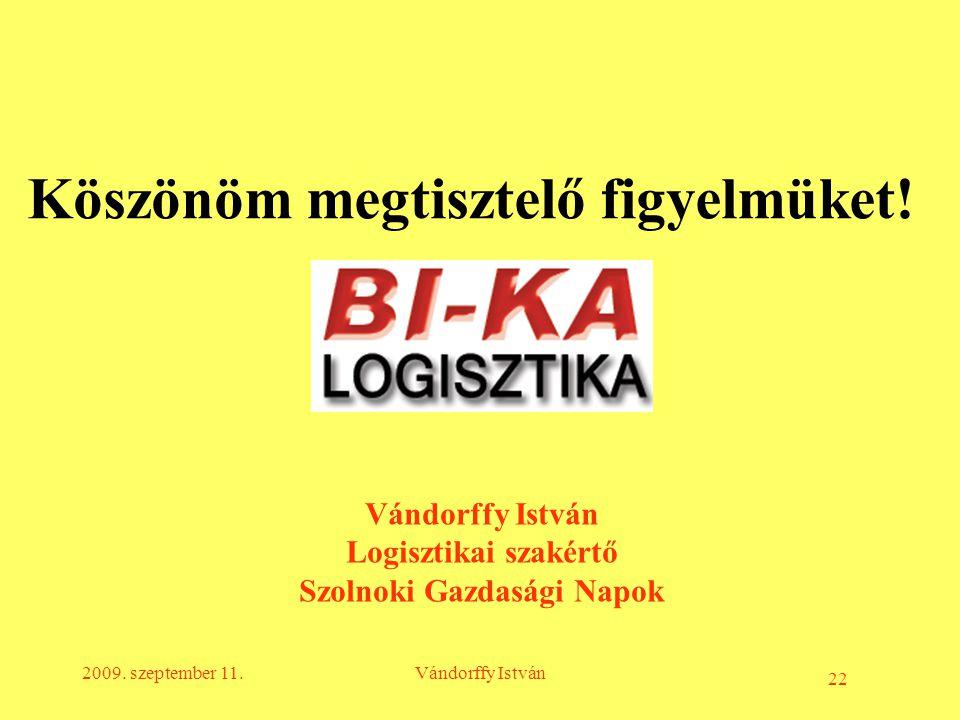 22 2009. szeptember 11.Vándorffy István Logisztikai szakértő Szolnoki Gazdasági Napok Köszönöm megtisztelő figyelmüket!