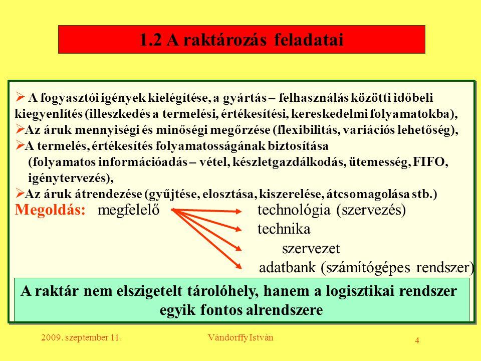 4 2009. szeptember 11.Vándorffy István  A fogyasztói igények kielégítése, a gyártás – felhasználás közötti időbeli kiegyenlítés (illeszkedés a termel