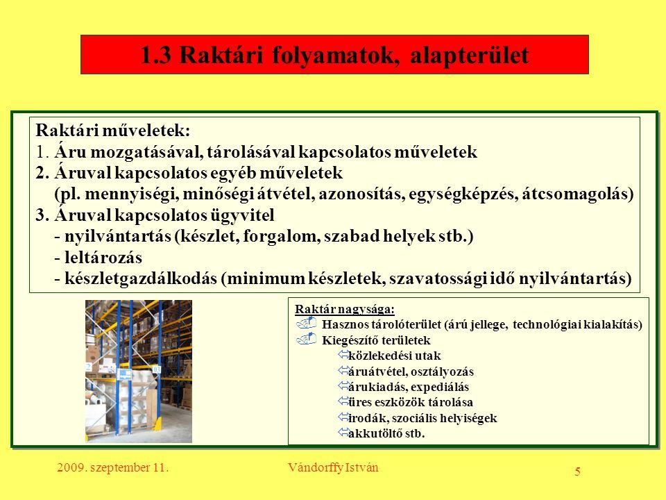 5 2009. szeptember 11.Vándorffy István 1.3 Raktári folyamatok, alapterület Raktár nagysága:. Hasznos tárolóterület (árú jellege, technológiai kialakít