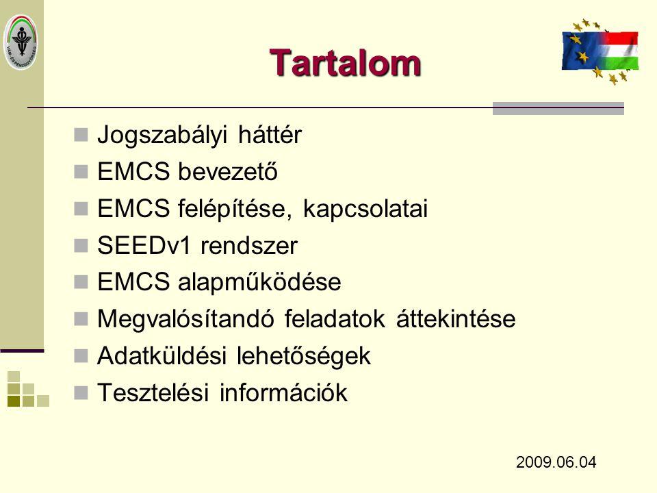 Jogszab á lyi h á tt é r  1152/2003/EK Határozat  2008/118/EK Tanácsi Irányelv  Előkészület alatt:  EMCS végrehajtási rendelet - 2009.