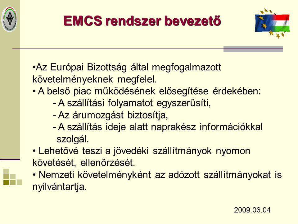 Az EMCS rendszer felépítése 2009.06.04