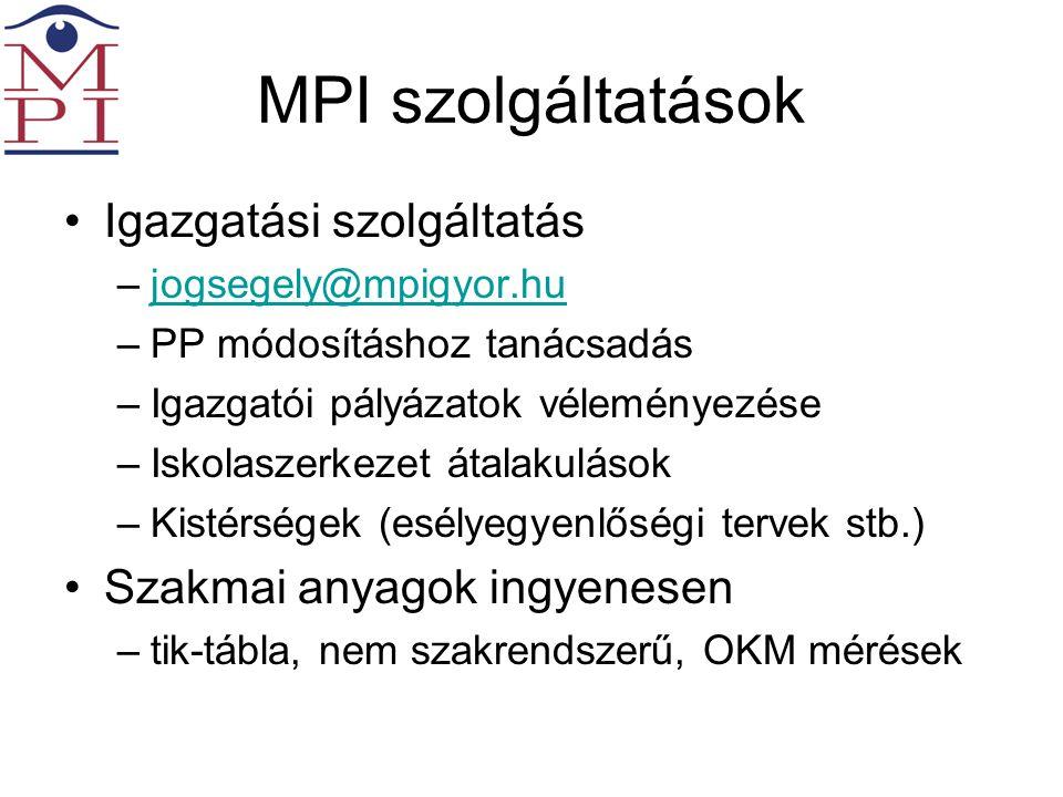 MPI szolgáltatások •Igazgatási szolgáltatás –jogsegely@mpigyor.hujogsegely@mpigyor.hu –PP módosításhoz tanácsadás –Igazgatói pályázatok véleményezése –Iskolaszerkezet átalakulások –Kistérségek (esélyegyenlőségi tervek stb.) •Szakmai anyagok ingyenesen –tik-tábla, nem szakrendszerű, OKM mérések