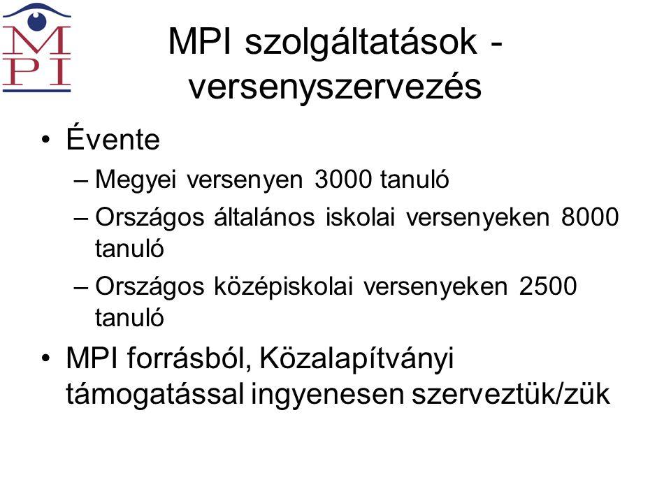 MPI szolgáltatások - versenyszervezés •Évente –Megyei versenyen 3000 tanuló –Országos általános iskolai versenyeken 8000 tanuló –Országos középiskolai versenyeken 2500 tanuló •MPI forrásból, Közalapítványi támogatással ingyenesen szerveztük/zük