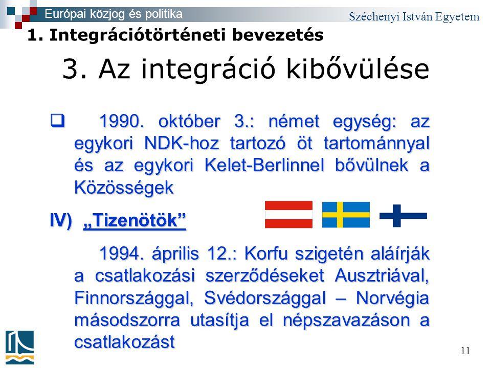 Széchenyi István Egyetem 11 3. Az integráció kibővülése  1990.
