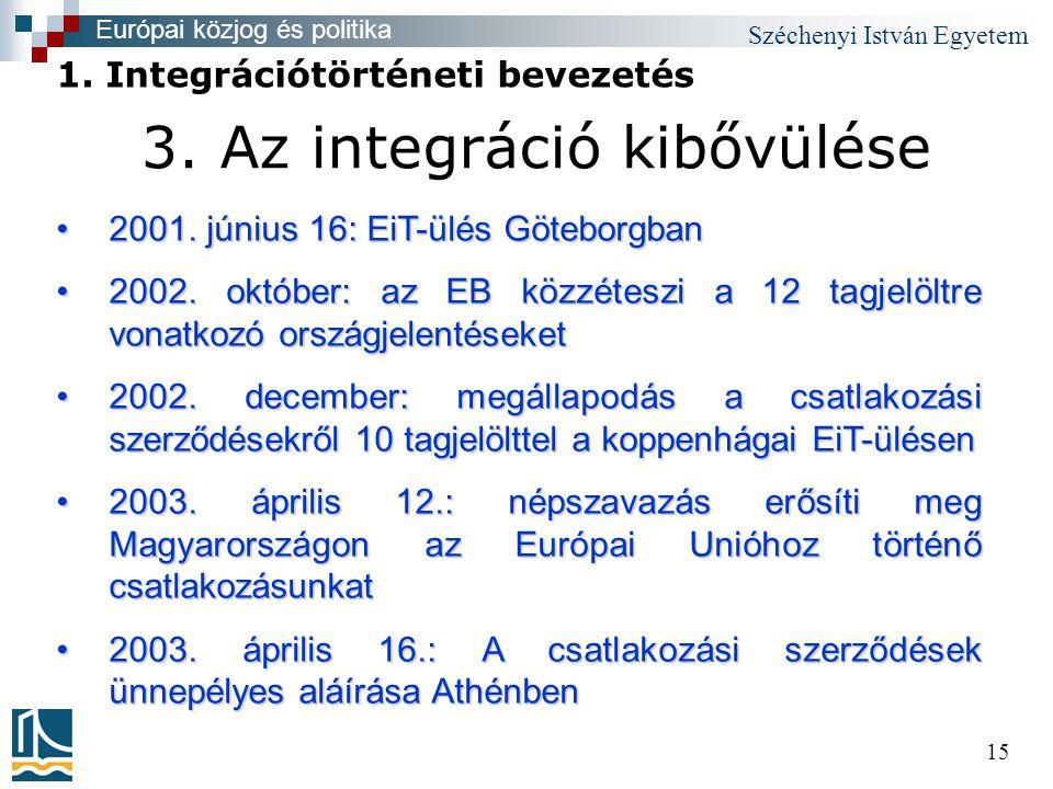 Széchenyi István Egyetem 15 3. Az integráció kibővülése •2001.