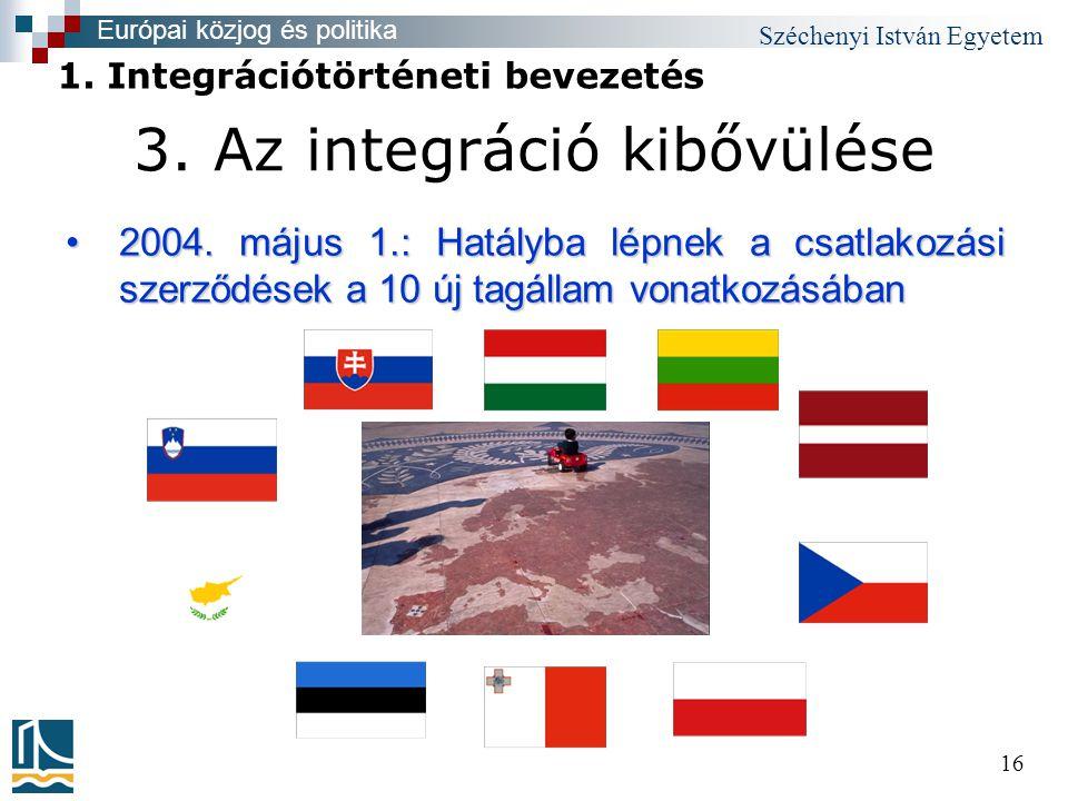 Széchenyi István Egyetem 16 3. Az integráció kibővülése •2004.