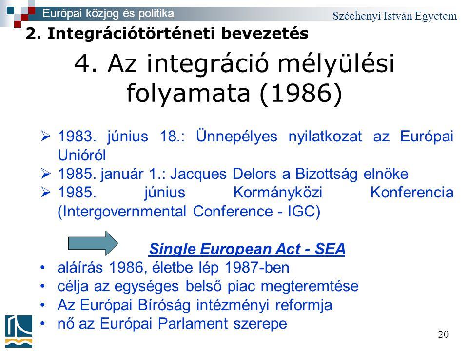 Széchenyi István Egyetem 20 4. Az integráció mélyülési folyamata (1986)  1983.