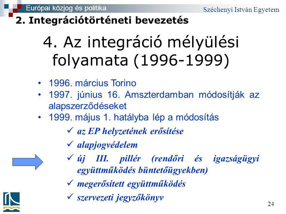 Széchenyi István Egyetem 24 4. Az integráció mélyülési folyamata (1996-1999) •1996.
