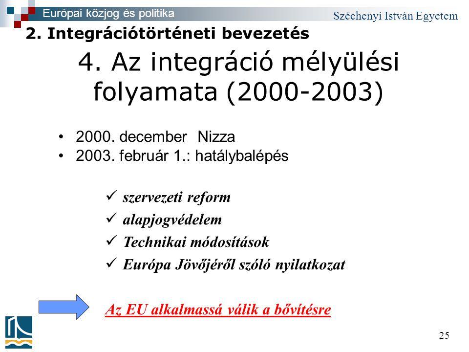 Széchenyi István Egyetem 25 4. Az integráció mélyülési folyamata (2000-2003) •2000.