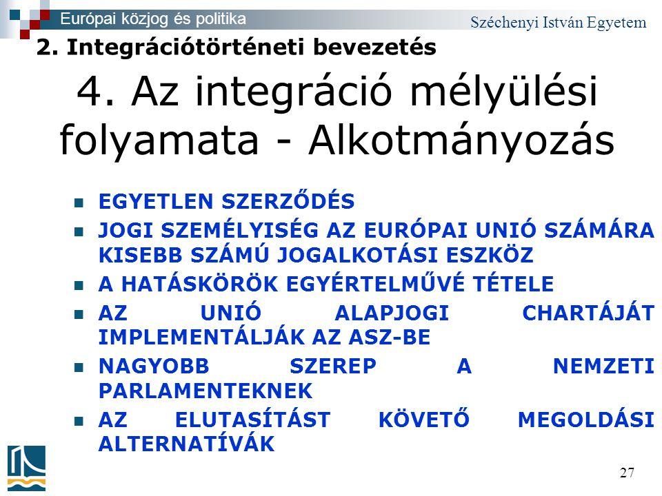 Széchenyi István Egyetem 27  EGYETLEN SZERZŐDÉS  JOGI SZEMÉLYISÉG AZ EURÓPAI UNIÓ SZÁMÁRA KISEBB SZÁMÚ JOGALKOTÁSI ESZKÖZ  A HATÁSKÖRÖK EGYÉRTELMŰVÉ TÉTELE  AZ UNIÓ ALAPJOGI CHARTÁJÁT IMPLEMENTÁLJÁK AZ ASZ-BE  NAGYOBB SZEREP A NEMZETI PARLAMENTEKNEK  AZ ELUTASÍTÁST KÖVETŐ MEGOLDÁSI ALTERNATÍVÁK 2.