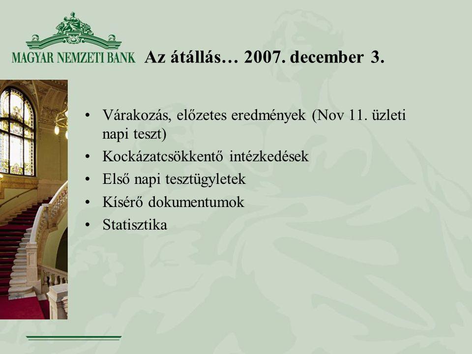 Az átállás… 2007. december 3. •Várakozás, előzetes eredmények (Nov 11. üzleti napi teszt) •Kockázatcsökkentő intézkedések •Első napi tesztügyletek •Kí