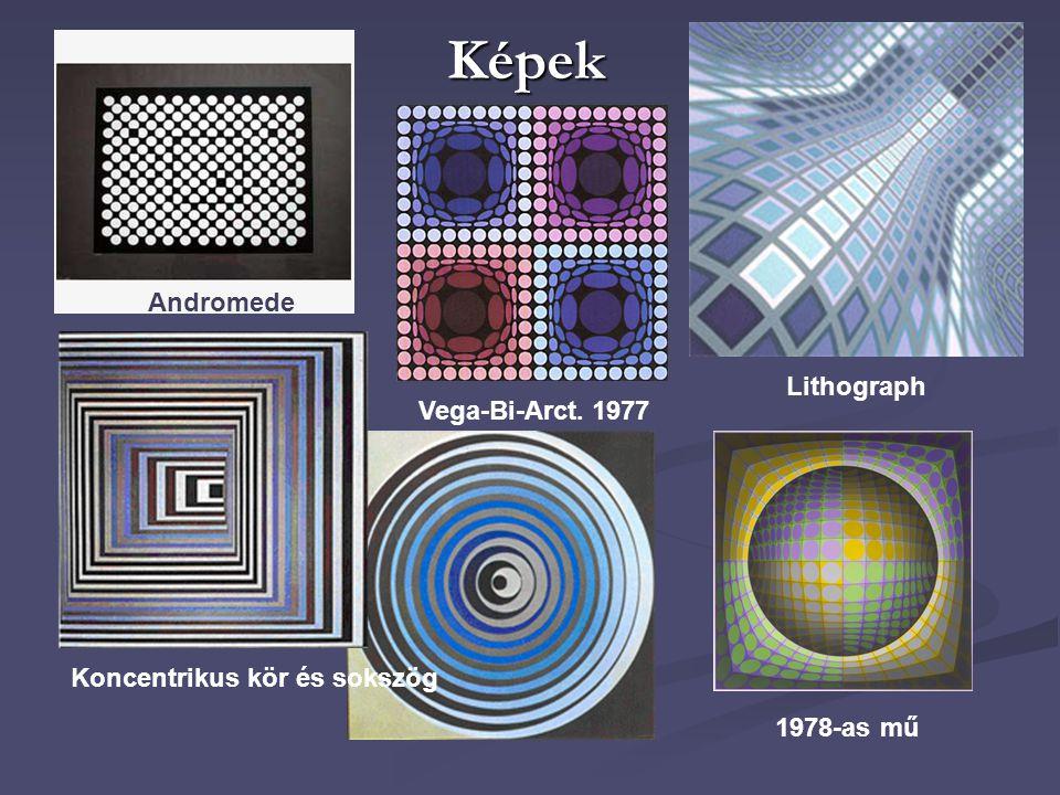 Képek Andromede 1978-as mű Koncentrikus kör és sokszög Lithograph Vega-Bi-Arct. 1977