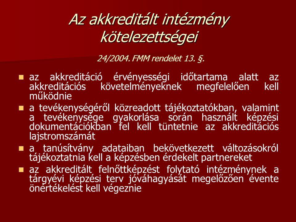 Az akkreditált intézmény kötelezettségei Az akkreditált intézmény kötelezettségei 24/2004.