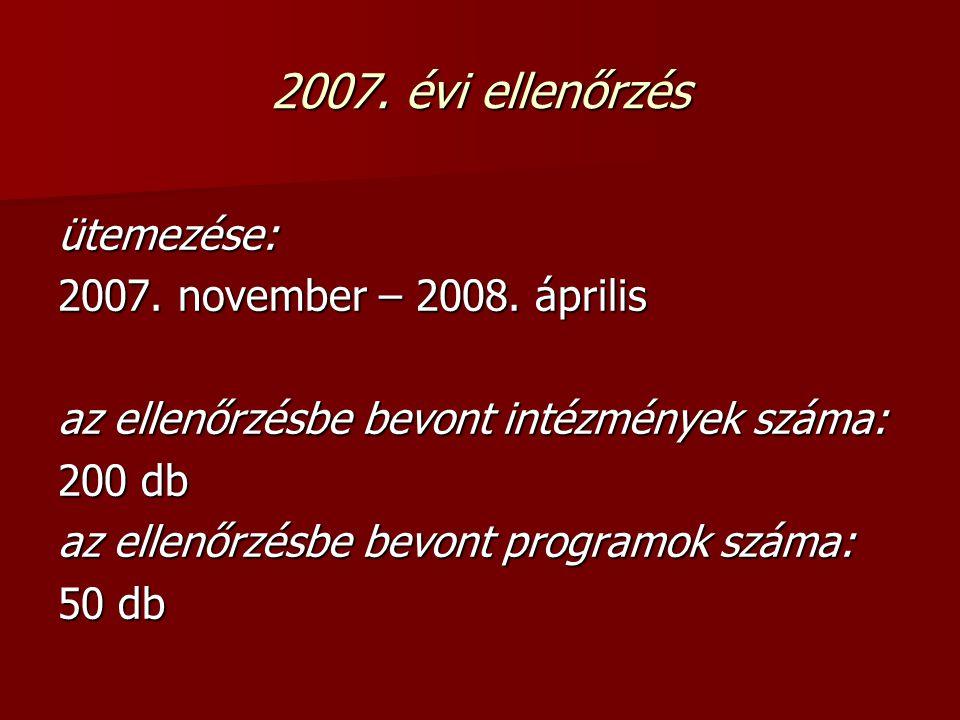 2007. évi ellenőrzés ütemezése: 2007. november – 2008.