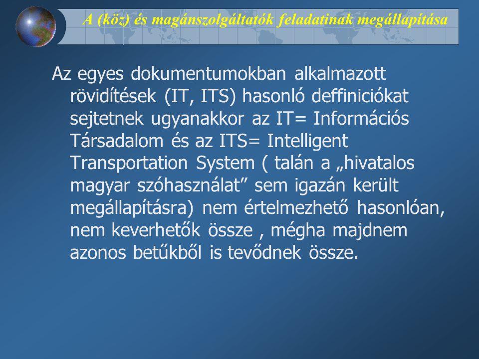 """A (köz) és magánszolgáltatók feladatinak megállapítása Az egyes dokumentumokban alkalmazott rövidítések (IT, ITS) hasonló deffiniciókat sejtetnek ugyanakkor az IT= Információs Társadalom és az ITS= Intelligent Transportation System ( talán a """"hivatalos magyar szóhasználat sem igazán került megállapításra) nem értelmezhető hasonlóan, nem keverhetők össze, mégha majdnem azonos betűkből is tevődnek össze."""