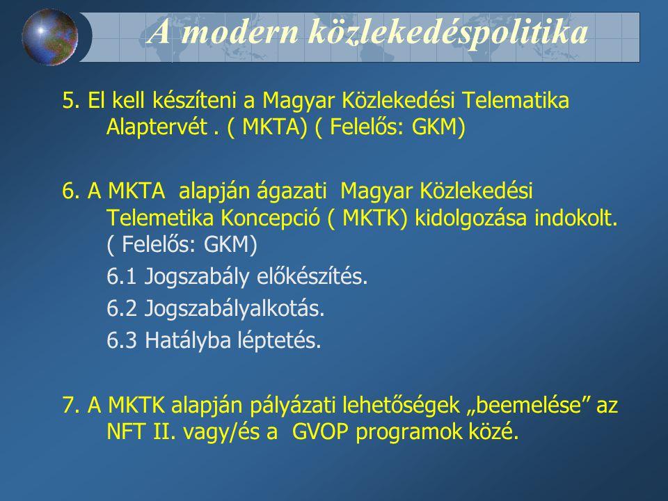 A modern közlekedéspolitika 5.El kell készíteni a Magyar Közlekedési Telematika Alaptervét.