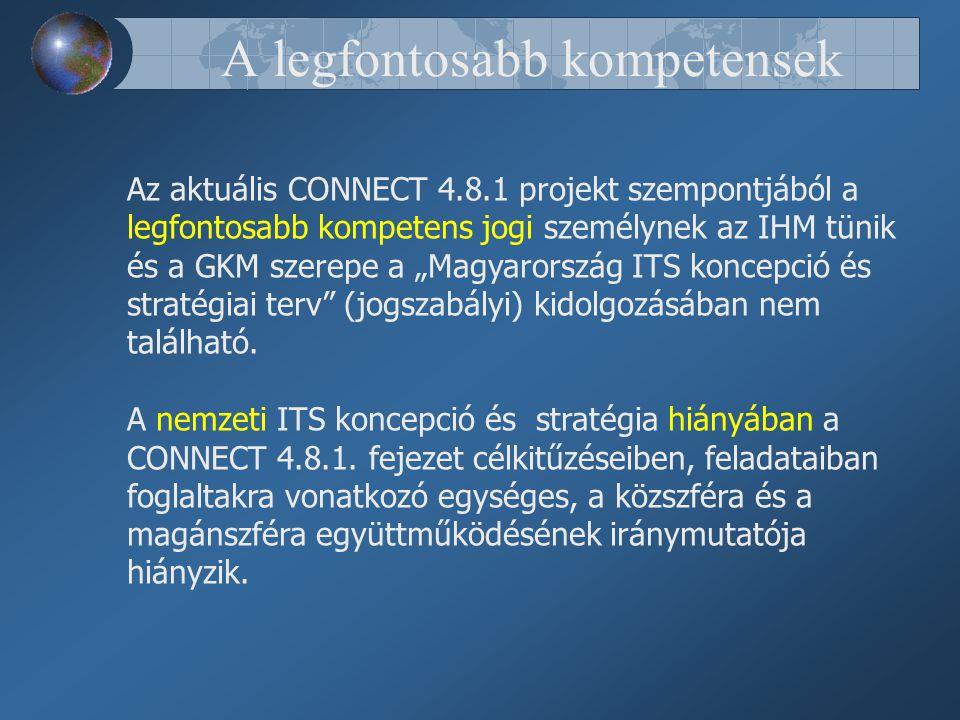 """A legfontosabb kompetensek Az aktuális CONNECT 4.8.1 projekt szempontjából a legfontosabb kompetens jogi személynek az IHM tünik és a GKM szerepe a """"Magyarország ITS koncepció és stratégiai terv (jogszabályi) kidolgozásában nem található."""