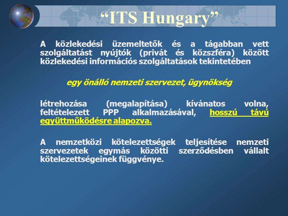 ITS Hungary A közlekedési üzemeltetők és a tágabban vett szolgáltatást nyújtók (privát és közszféra) között közlekedési információs szolgáltatások tekintetében egy önálló nemzeti szervezet, ügynökség létrehozása (megalapítása) kívánatos volna, feltételezett PPP alkalmazásával, hosszú távú együttműködésre alapozva.