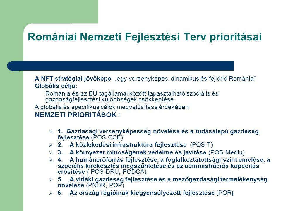 """A NFT stratégiai jövőképe: """"egy versenyképes, dinamikus és fejlődő Románia Globális célja: Románia és az EU tagállamai között tapasztalható szociális és gazdaságfejlesztési különbségek csökkentése A globális és specifikus célok megvalósítása érdekében NEMZETI PRIORITÁSOK :  1."""