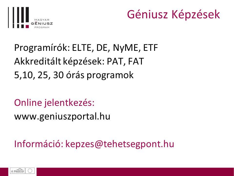 Géniusz Képzések Programírók: ELTE, DE, NyME, ETF Akkreditált képzések: PAT, FAT 5,10, 25, 30 órás programok Online jelentkezés: www.geniuszportal.hu