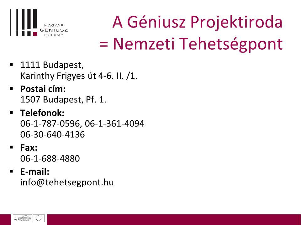 A Géniusz Projektiroda = Nemzeti Tehetségpont  1111 Budapest, Karinthy Frigyes út 4-6. II. /1.  Postai cím: 1507 Budapest, Pf. 1.  Telefonok: 06-1-