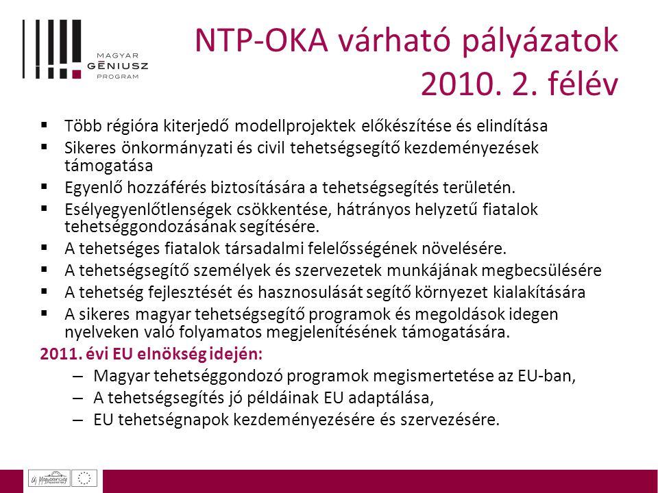 NTP-OKA várható pályázatok 2010. 2. félév  Több régióra kiterjedő modellprojektek előkészítése és elindítása  Sikeres önkormányzati és civil tehetsé