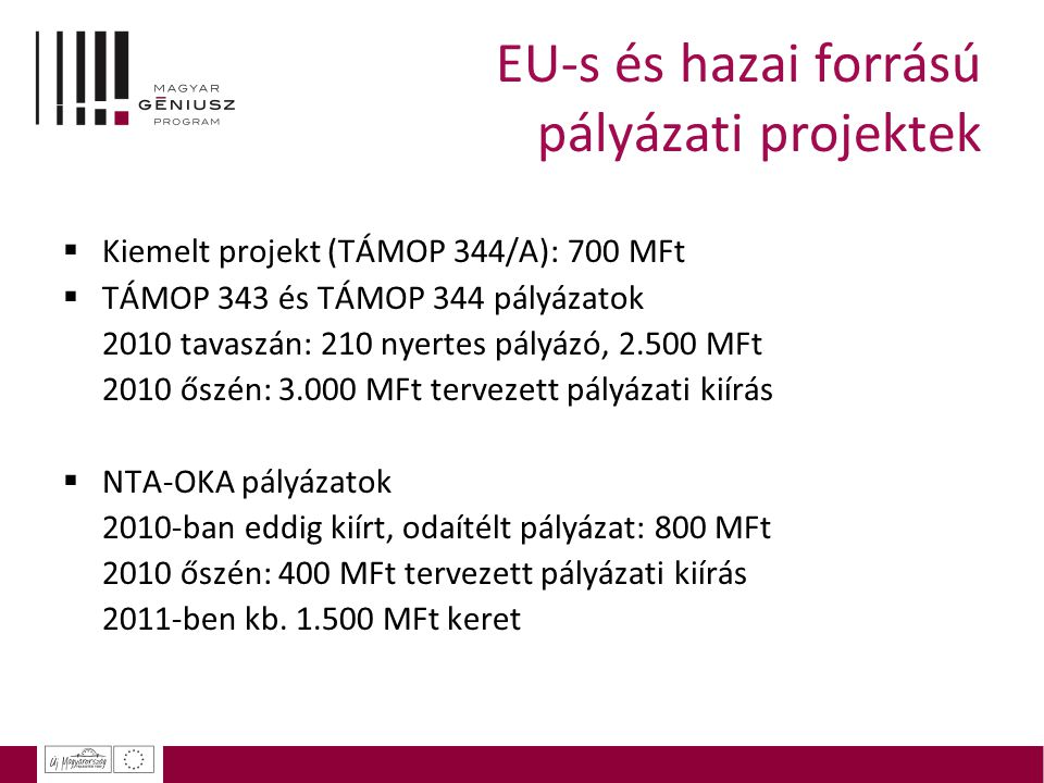 EU-s és hazai forrású pályázati projektek  Kiemelt projekt (TÁMOP 344/A): 700 MFt  TÁMOP 343 és TÁMOP 344 pályázatok 2010 tavaszán: 210 nyertes pály
