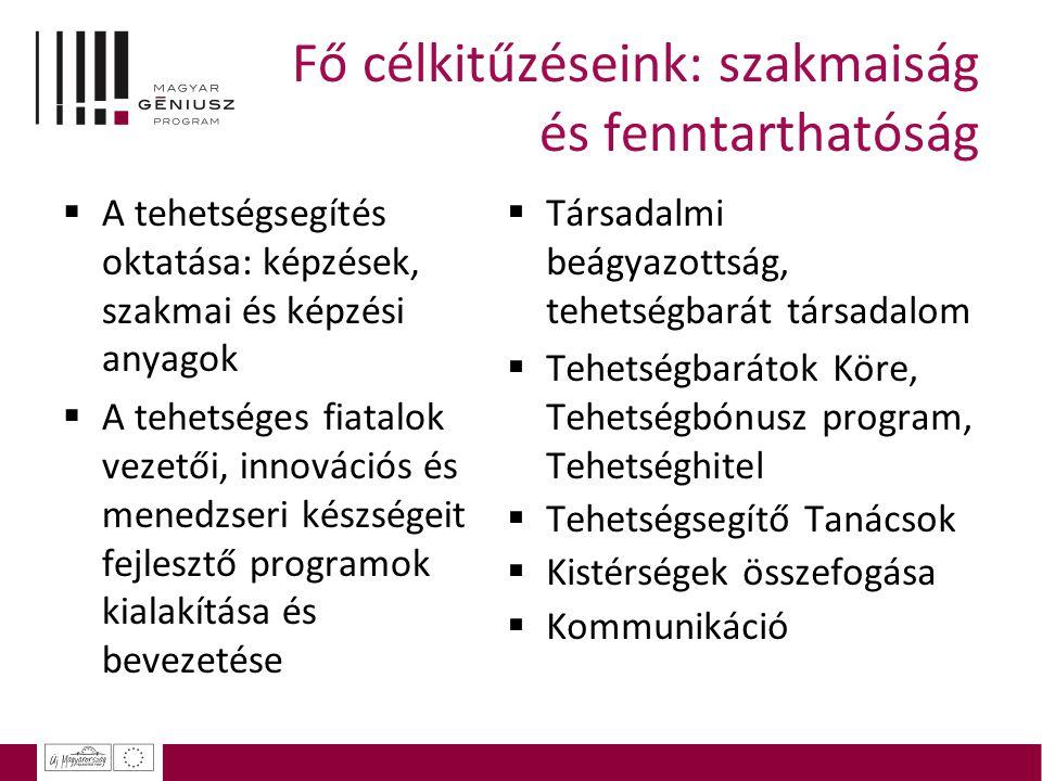 Fő célkitűzéseink: szakmaiság és fenntarthatóság  A tehetségsegítés oktatása: képzések, szakmai és képzési anyagok  A tehetséges fiatalok vezetői, i