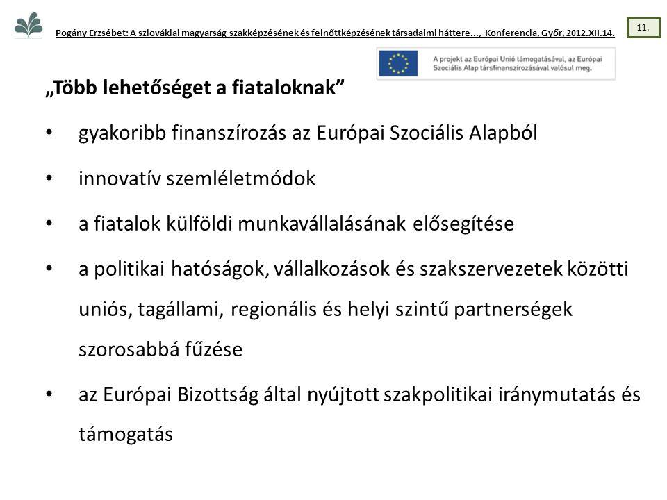 """""""Több lehetőséget a fiataloknak • gyakoribb finanszírozás az Európai Szociális Alapból • innovatív szemléletmódok • a fiatalok külföldi munkavállalásának elősegítése • a politikai hatóságok, vállalkozások és szakszervezetek közötti uniós, tagállami, regionális és helyi szintű partnerségek szorosabbá fűzése • az Európai Bizottság által nyújtott szakpolitikai iránymutatás és támogatás Pogány Erzsébet: A szlovákiai magyarság szakképzésének és felnőttképzésének társadalmi háttere..., Konferencia, Győr, 2012.XII.14."""