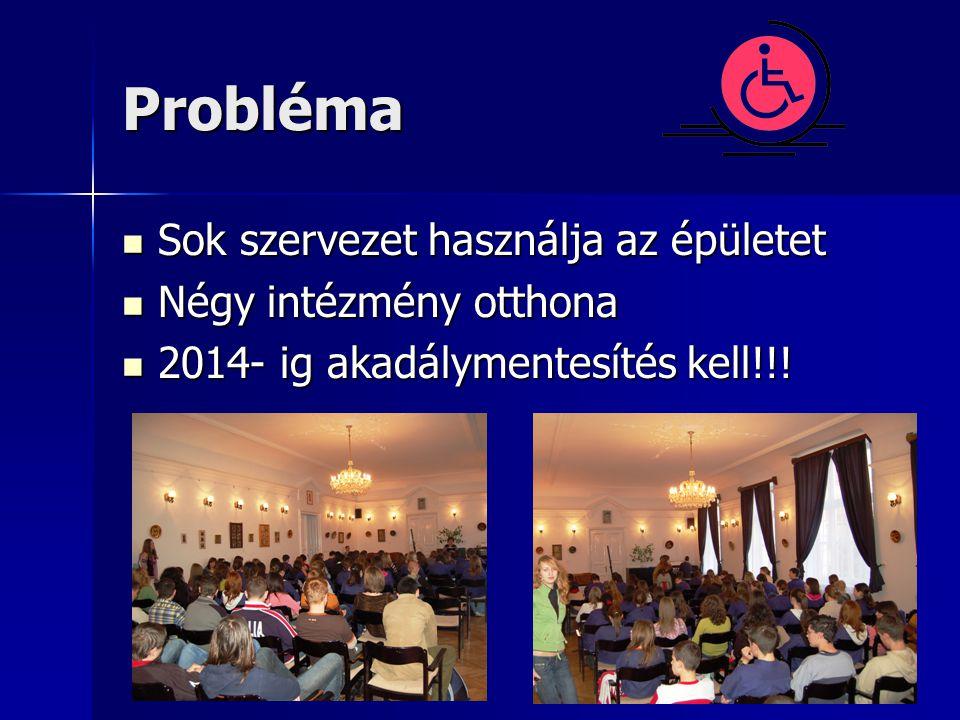 Probléma  Sok szervezet használja az épületet  Négy intézmény otthona  2014- ig akadálymentesítés kell!!!
